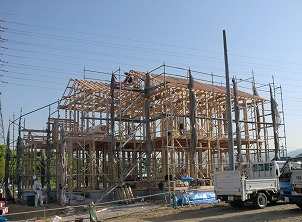 北九州市小倉 戸建て棟上げ イコーハウス施工新築